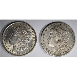 2 MORGAN DOLLARS:  1885-O AU/UNC &