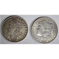 1887 AU & 1887-O XF MORGAN DOLLARS
