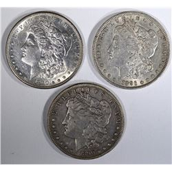 3 MORGAN DOLLARS:  1890-O VF,