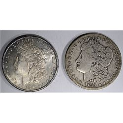 2 MORGAN DOLLARS: 1891-O GOOD &
