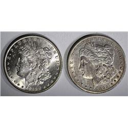 2 MORGAN DOLLARS:  1898-O CH BU &