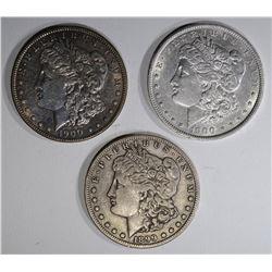 3 MORGAN DOLLARS:  1899-S F-VF,