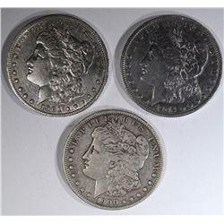 3 MORGAN DOLLARS:  1900-S FINE,