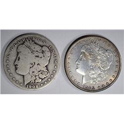 2 MORGAN DOLLARS:  1902-O AU &