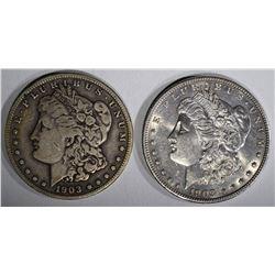 1903 AU & 1903-S FINE MORGAN DOLLARS