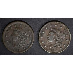 1835 F/VF & 1839 VF LARGE CENTS