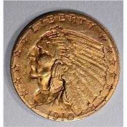 1910 $2.50 GOLD INDIAN HEAD  AU