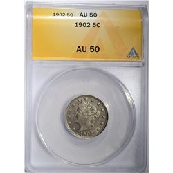 1902 LIBERTY V NICKEL ANACS AU 50