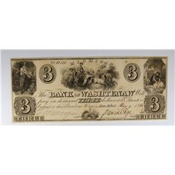 1836 $3 BANK OF WASHTENAW NO. 10101