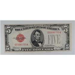 1928 C $5 LEGAL TENDER RED SEAL