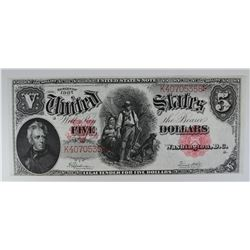 1907 $5 LEGAL TENDER  WOODCHOPPER
