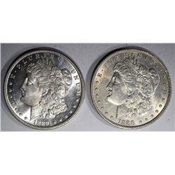 1888 AU & 1889 CH BU MORGAN DOLLARS