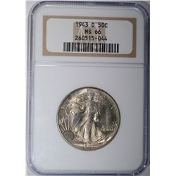 1943 D WALKING LIBERTY HALF DOLLAR NGC MS 66