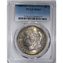 1881-S MORGAN DOLLAR PCGS MS63