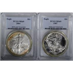 1987 & 2004 AMERICAN SILVER EAGLE DOLLARS