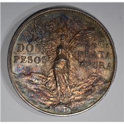1921 MO SILVER 2 PESOS MEXICO
