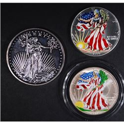 2-COLORIZED SILVER EAGLES & 2-OUNCE LIBERTY COIN