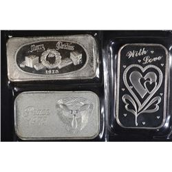 3-DIFFERENT ONE OUNCE .999 SILVER BARS