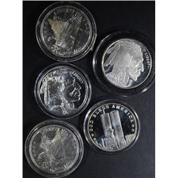 5-ONE OUNCE .999 SILVER ROUNDS IN CAPSULES