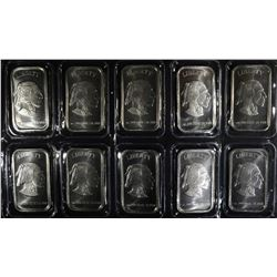 10-INDIAN/BUFFALO ONE OUNCE .999 SILVER BARS