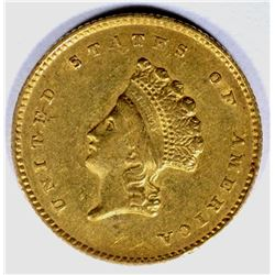 1855-O $1.00 GOLD, AU RARE!! Few marks rev