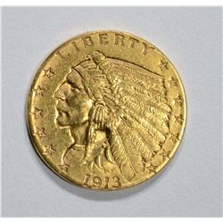 1913 $2.50 GOLD INDIAN, CH BU