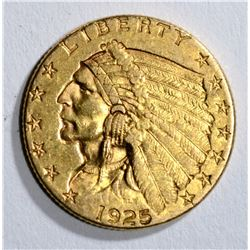1925-D $2.50 INDIAN GOLD, XF/AU