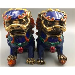 A Pair of Two Middle 20th Century Cloisonne Enamel Lions