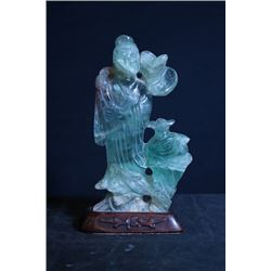Green Quartz Jade Figure of Taoism with Base