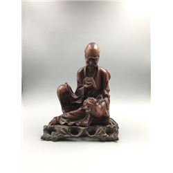 """A Qing Dynasty Carved Wood""""Arhat Chanting""""with Base, Small Crack at the Bottom"""