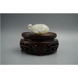 Qing Dynasty, A He Tian White Jade in the Shape of a Bat and a Peach