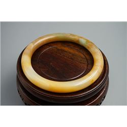 "Round A Class Jadeite Bangle;""Lao Keng"", Late Qing Dyansty"