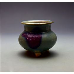 "A Yuan Dynasty ""Jun"" Kiln Purple-Red-Splashed Incense Burner with three foot"