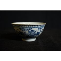 """Kang Xi Nian Zhi"" mark, a small blue-and-white ""birds and flowers"" bowl, a hairline on the openning"