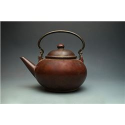 "Late Ming Dynasty, A Large and Old Yixing Teapot with Bronze Loop-Handled; ""Yi Xing Meng Chen Zi Zao"