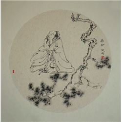 "Chinee ink Painting - ""Listening to Pine Breeze"", Su Jiangng: A famouse artist, the disciple of famo"