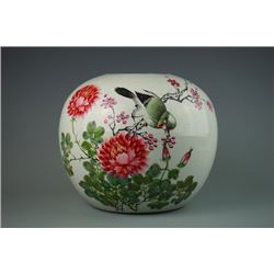 "Early 20th Century, Famille - Rose ""birds and flowers"" jar, cover loss"