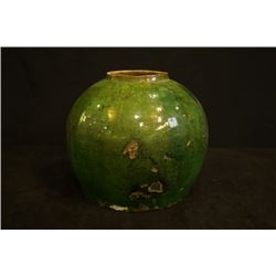 A large Qing Dynasty Green-Galzed Jar