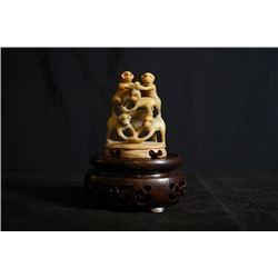 """Soapstone Carved """"Bei Bei Feng Hou"""""""