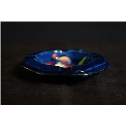 "UK famous art ceramics band - Moorcroft, a ""Flowers"" cobalt blue octagon ashtray, made in England"