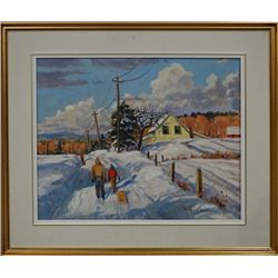 "Canadian Artist - Ron Hedrick ""Small Country Road in Winter"", Ron Hedrick was boron in 1942 in Vanco"