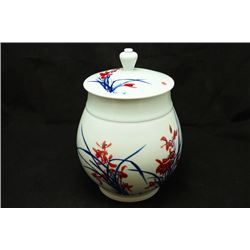 """Jing De Zhen"" Blue and White Underglazed-Red ""Floral"" Jar and Cover with Certification. Artist: Sun"
