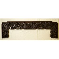 A Rosewood Bed Decoration Carved in Openwork