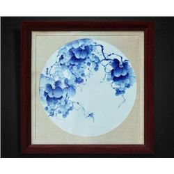 """Qiu Qu"" Blue and White Porcelain Plaque with Certification. Artist: Tian,Man: One of the most famou"
