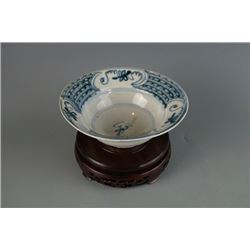 "Qing Dynasty Blue and White Bowl with ""Rabbit"" Mark"