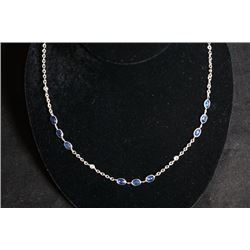 A Sapphire and diamond Necklace mounted in White Gold with Certification