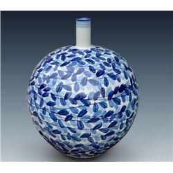 """Fan Hua Si Jin"" Blue and White Porcelain Vase with Certification. Artist: Tian,Man: One of the most"