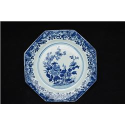 "Qing Dynasty(Kang Xi) Export, Blue-and-White ""Floral"" octagonal plate, part surface small crack"