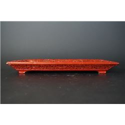 "An Early 20th Century Cinnabar Lacquer ""Immortal"" Square Tray. Paint Loss in One Corner"
