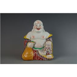 "An Early 20th Century ""Fu Jian Hui Guan"" Famille-Rose Figure of Budai with linen at the bottom"